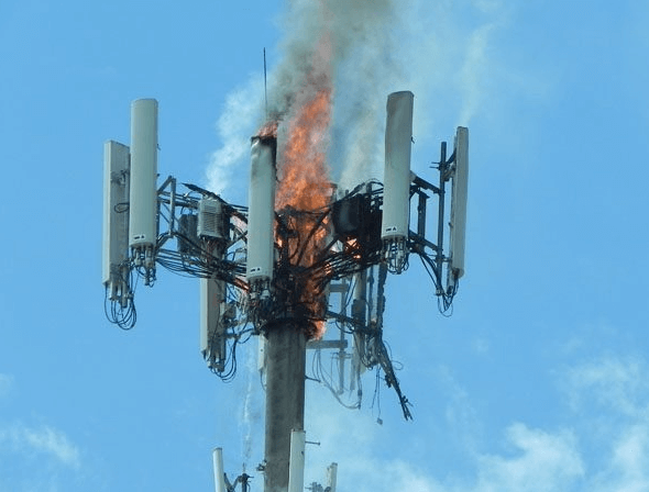 5g tower being burned down, 5g cell tower, the 5g network
